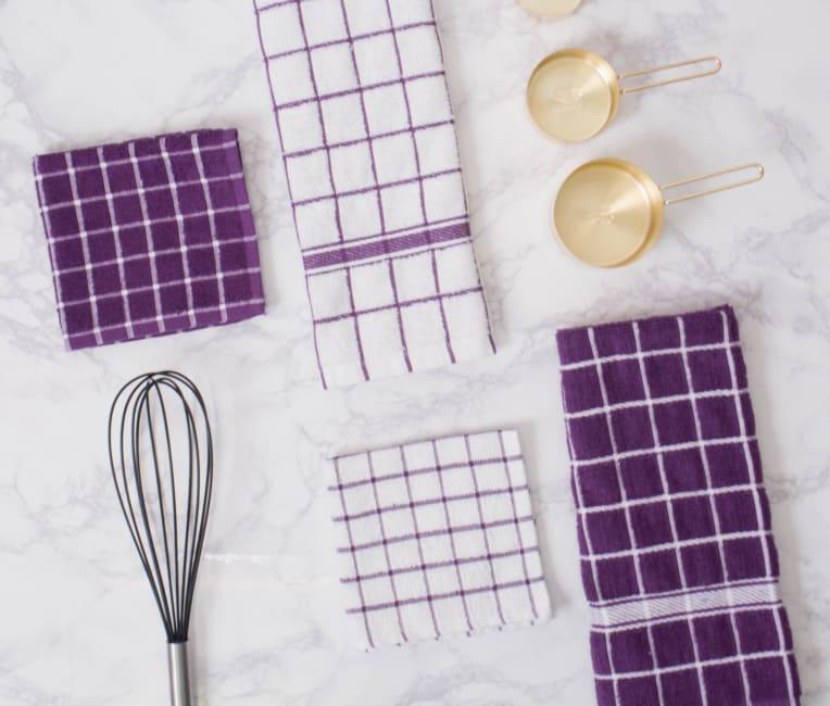 Eggplant Windowpane Terry Dishtowel (Set of 4)