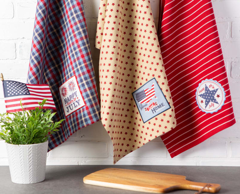 Happy 4th Of July Embroidered Dishtowel (Set of 3)
