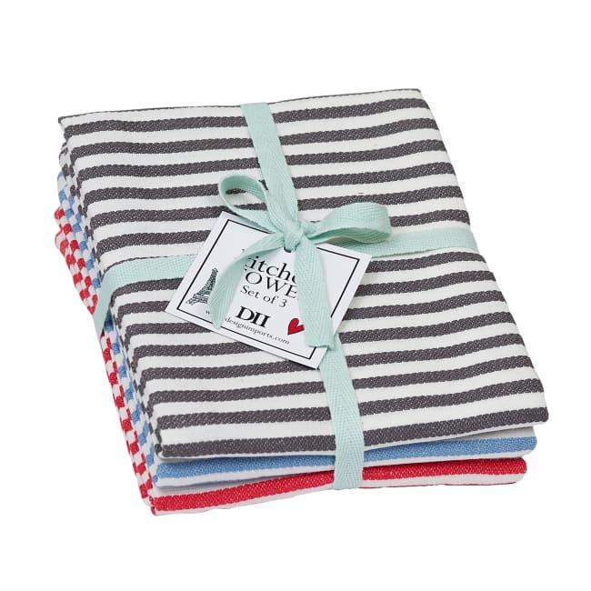 I Love Paris Striped Heavyweight Dishtowels Set/3