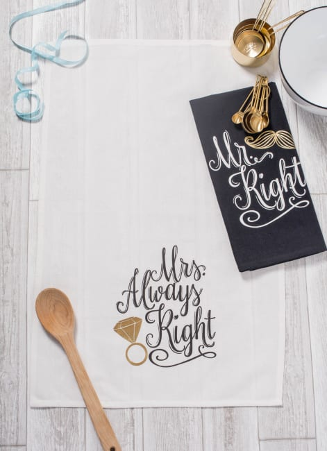 Mr & Mrs Printed Dishtowel (Set of 2)