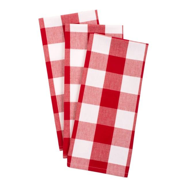 Red & White Buffalo Check Dishtowel (Set of 3)