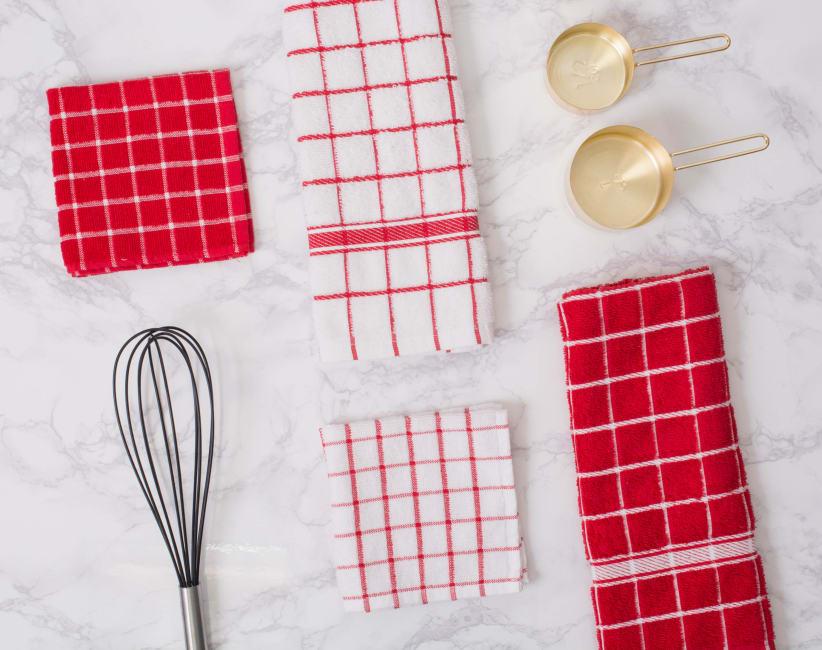 Red Solid Windowpane Terry Dishtowel (Set of 4)