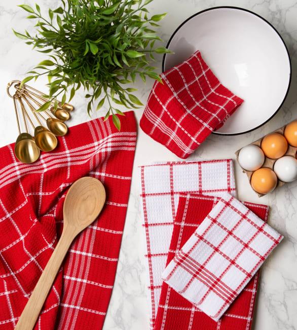 Red Waffle Weave Dishtowel Set of 6