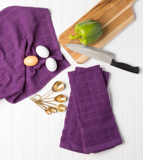 Solid Eggplant Windowpane Terry Dishtowel (Set of 4)