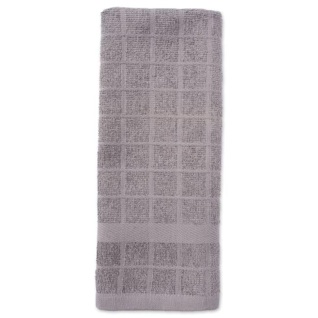 Solid Gray Windowpane Terry Dishtowel (Set of 4)