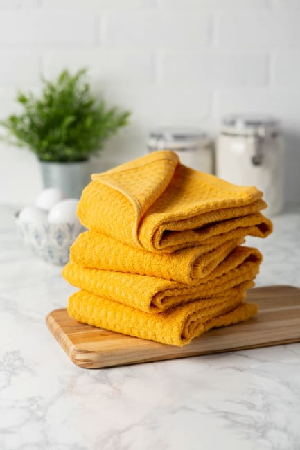 Solid Mustard Waffle Terry Dishtowel (Set of 4)