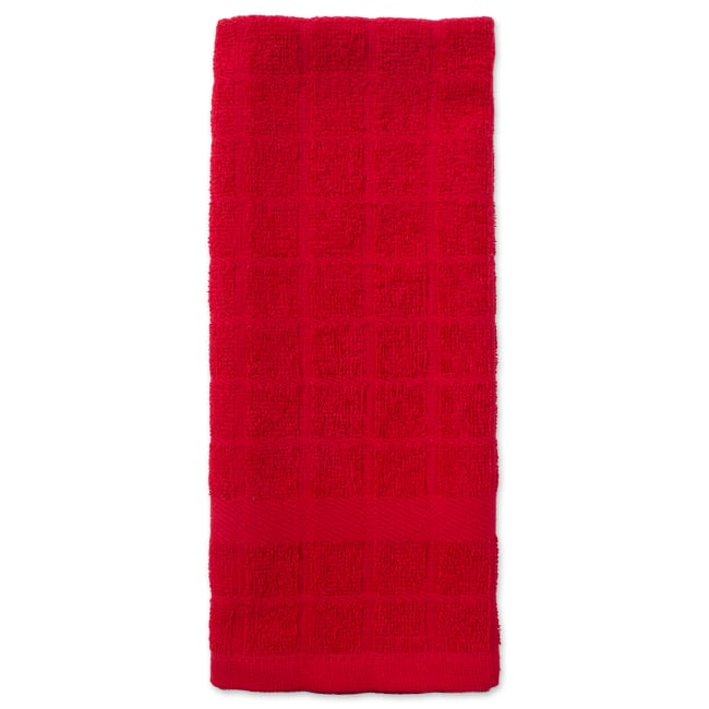 Solid Red Windowpane Terry Dishtowel (Set of 4)