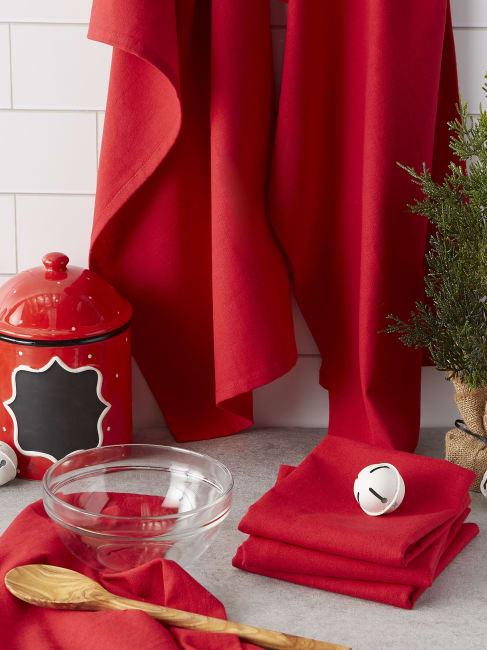 Tango Red Flat Woven Dishtowel (Set of 6)
