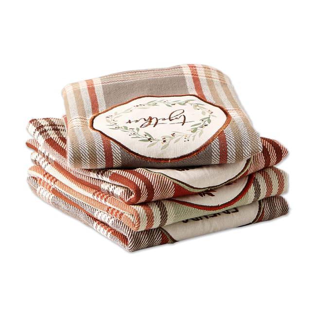Thanksgiving Cozy Picnic, Plaid Dishtowel Set of 4