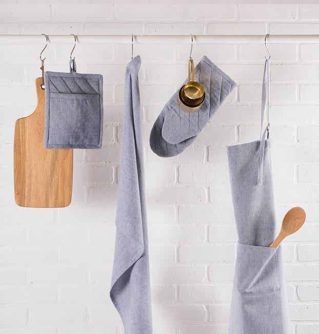Blue Solid Chambray Oven Mitt (Set of 2)