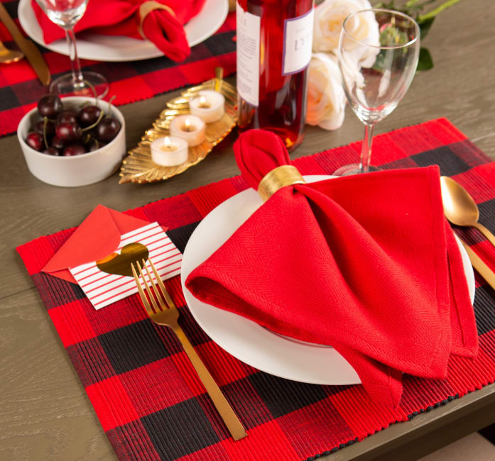 Red Buffalo Check Ribbed Placemat (Set of 6)