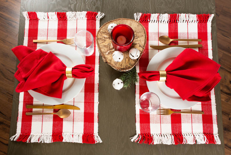 Red Tinsel Plaid Fringed Placemat (Set of 6)