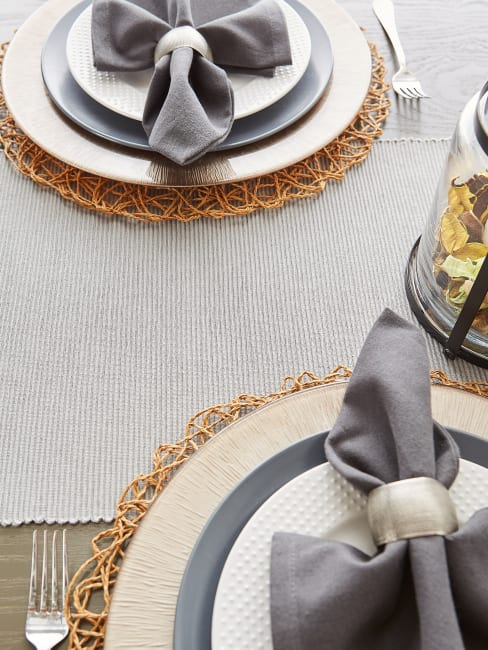 Taupe Woven Paper Round Placemat (Set of 6)
