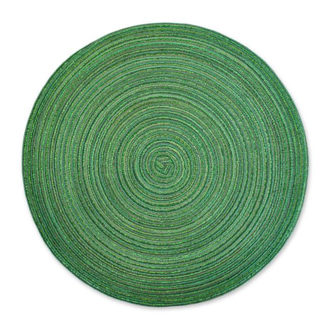 Variegated Green Lurex Round Polypropylene Woven Placemat (Set of 6)