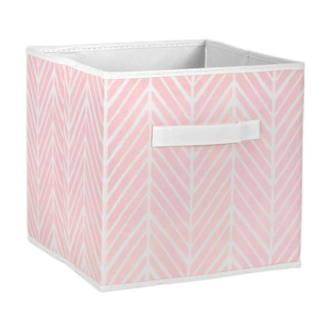 Nonwoven Polyester Cube Herringbone Mauve Square 11x11x11 Set/2