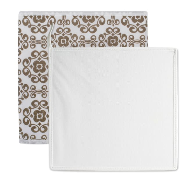 Nonwoven Polyester Cube Scroll Brown Square 11x11x11 Set/2