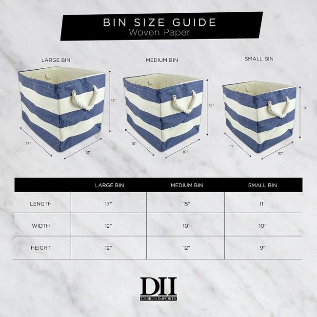Paper Storage Bin Diamond Basketweave Black/White Rectangle Medium 15x10x12