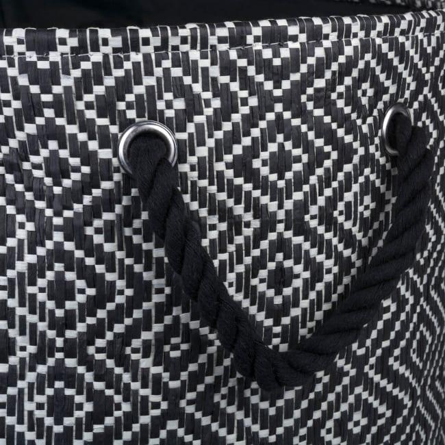 Paper Storage Bin Diamond Basket weave Black/White Round Medium