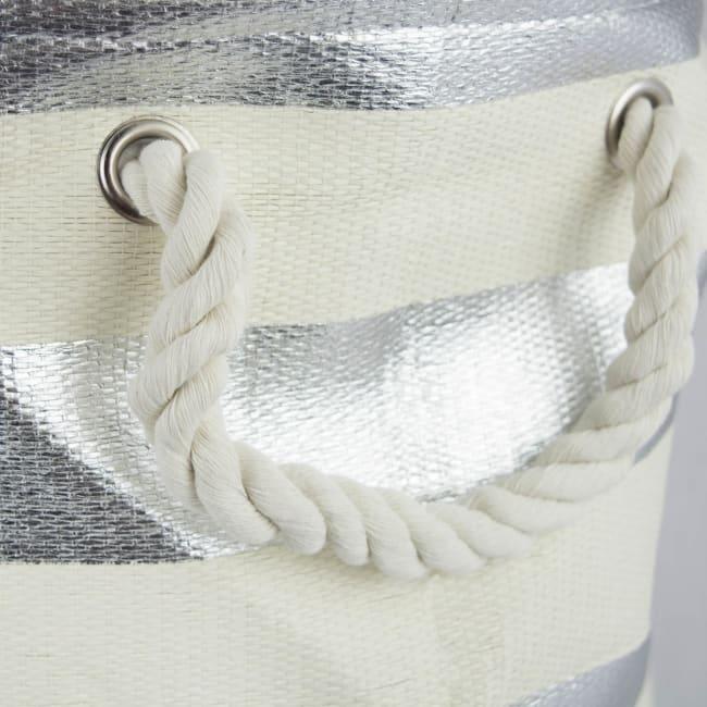 Paper Bin Stripe Silver Round Medium 13.75x13.75x17