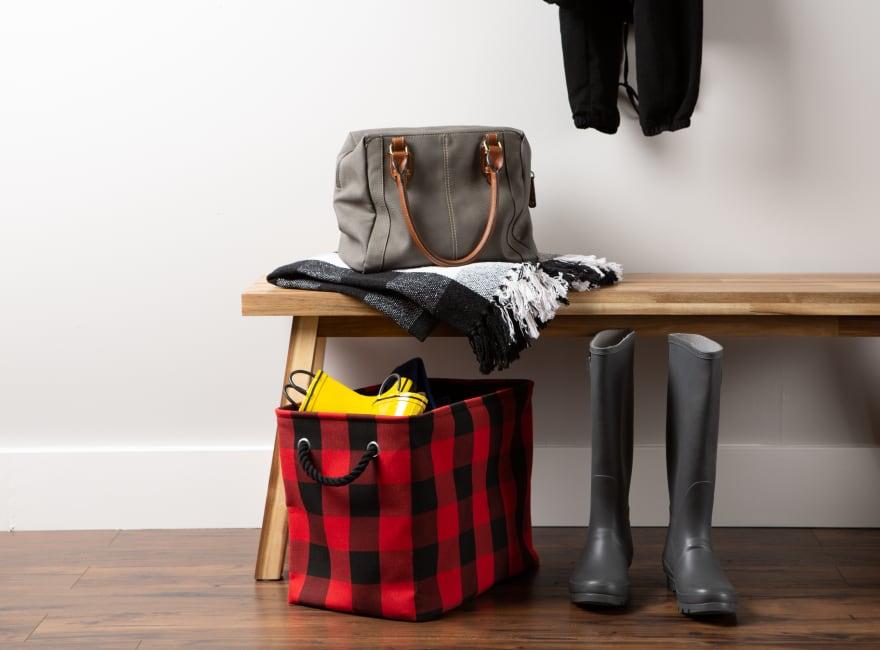 Polyester Storage Bin Buffalo Check Red/Black Rectangle Medium