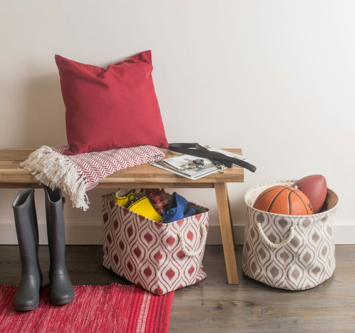 Polyester Storage Bin Ikat Barn Red Rectangle Medium 16x10x12