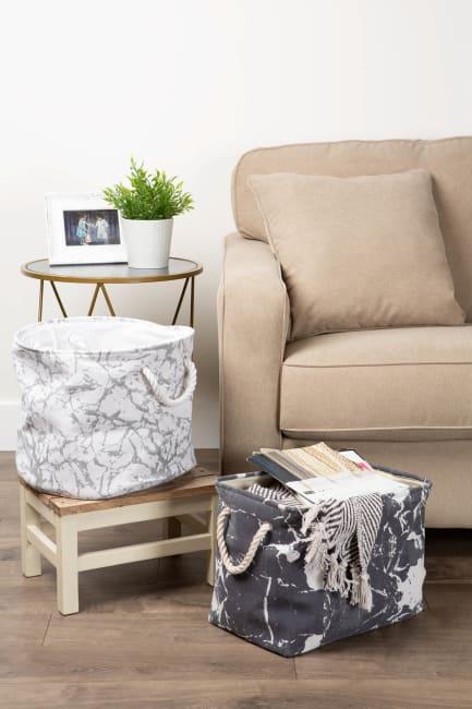 Polyester Storage Bin Marble White Rectangle Medium 16x10x12