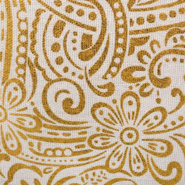 Polyester Storage Bin Paisley Gold Round Medium 12x15x15