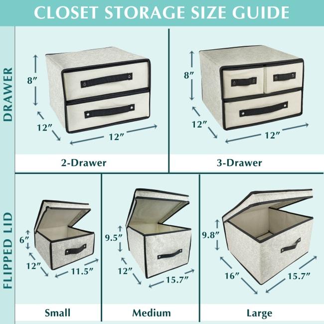 Storage Closet Flipped Lid Assorted (Set of 3) Damask