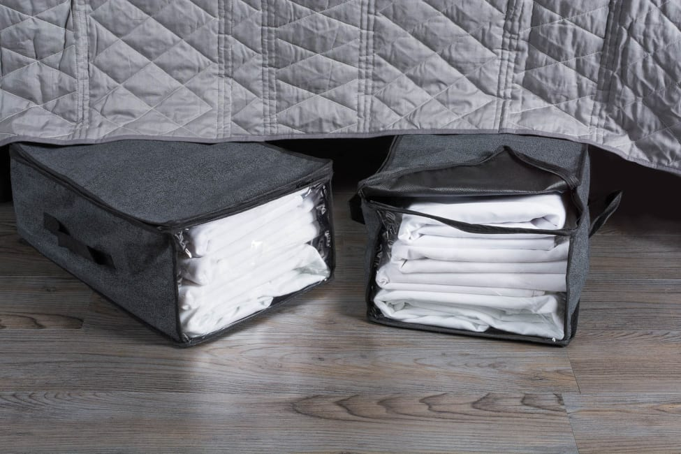 Black Linen Soft Storage 18x12x8 Set/2