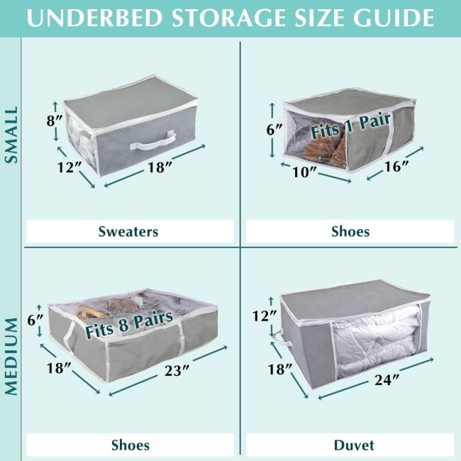 Black Linen Under-The-Bed Shoes Soft Storage (Set of 2)