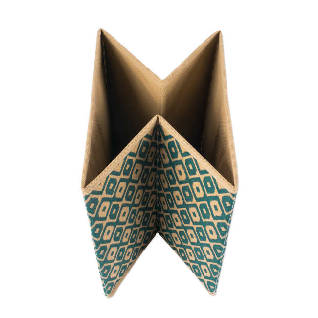 Nonwoven Polyester Cube Ikat Teal Square 11x11x11 Set/2