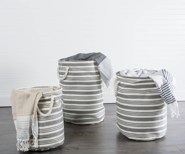 Paper Storage Bin Urban Stripe Gray Round Large 20x15x15