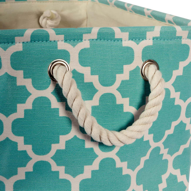 Polyester Storage Bin Lattice Aqua Rectangle Large 17.5x12x15