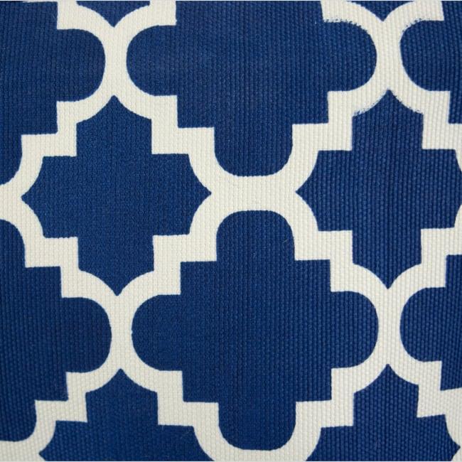 Polyester Storage Bin Lattice Navy Rectangle Large 17.5x12x15