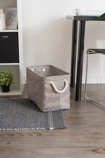 Polyester Storage Bin Variegated Gray Rectangle Small 14x8x9