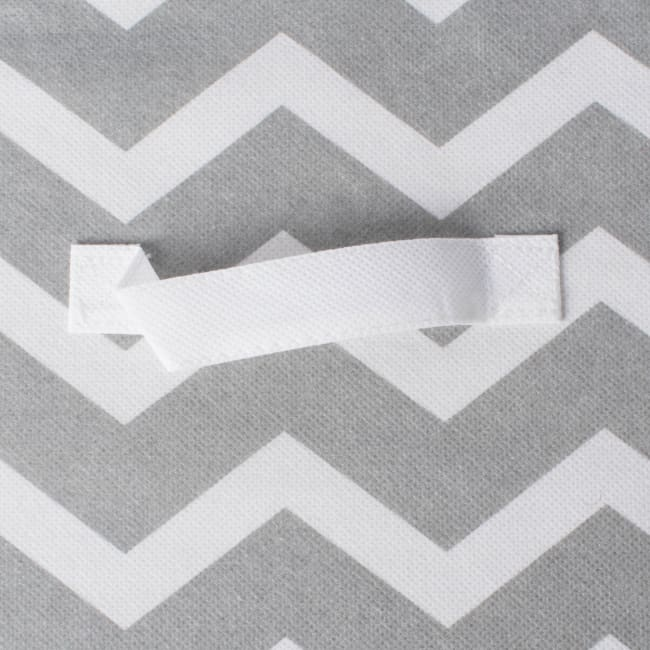 Nonwoven Polyester Cube Chevron Gray Square 13x13x13 Set/2