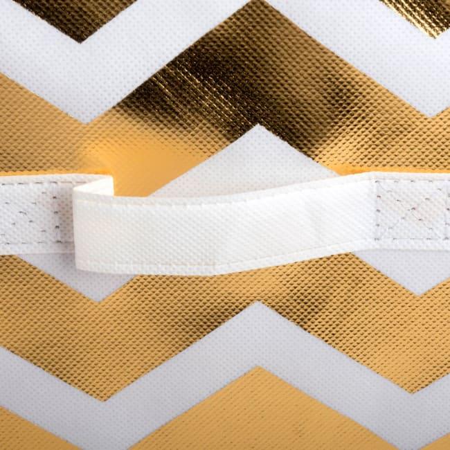 Nonwoven Polyester Cube Chevron White/Gold Square 13x13x13 Set/2
