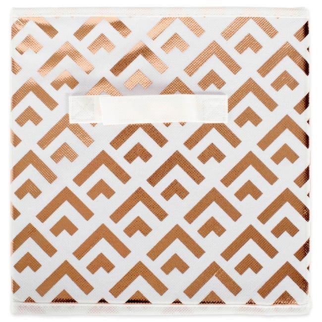 Nonwoven Polyester Cube Double Diamond White/Copper Square 11x11x11 Set/4