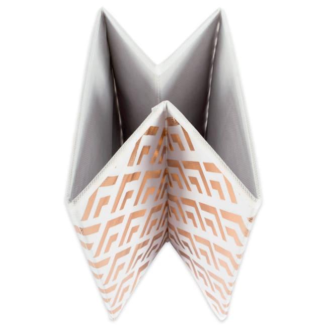 Nonwoven Polyester Cube Double Diamond White/Copper Square 13x13x13 Set/2