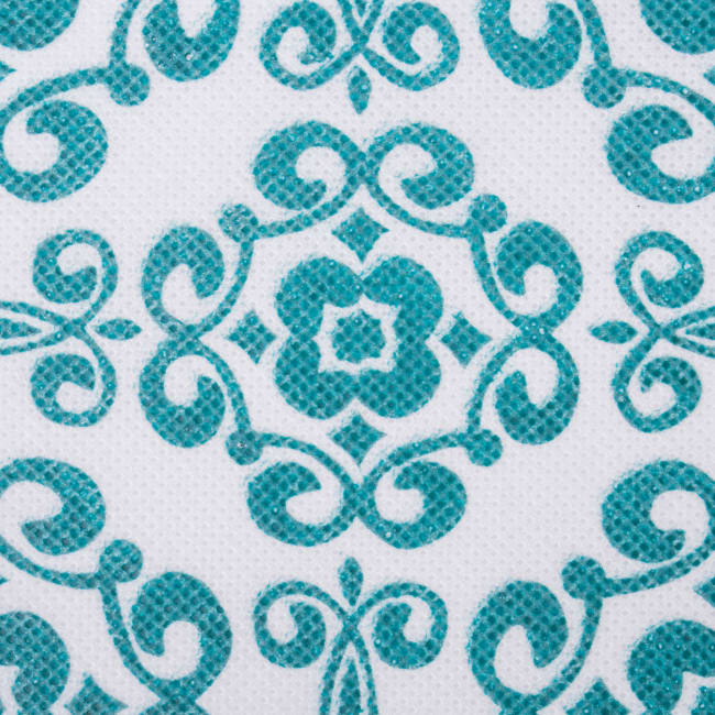 Nonwoven Polyester Cube Scroll Teal Square 13x13x13 Set/2