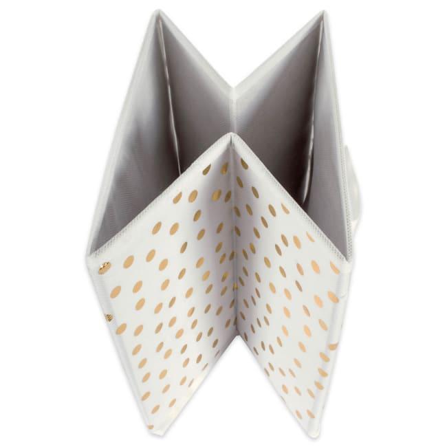 Nonwoven Polyester Cube Small Dots White/Gold Square 11x11x11 Set/2