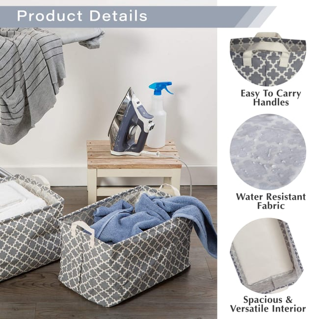 PE-Coated Cotton/Poly Laundry Hamper Stripe Gray Round 13.75x13.75x20
