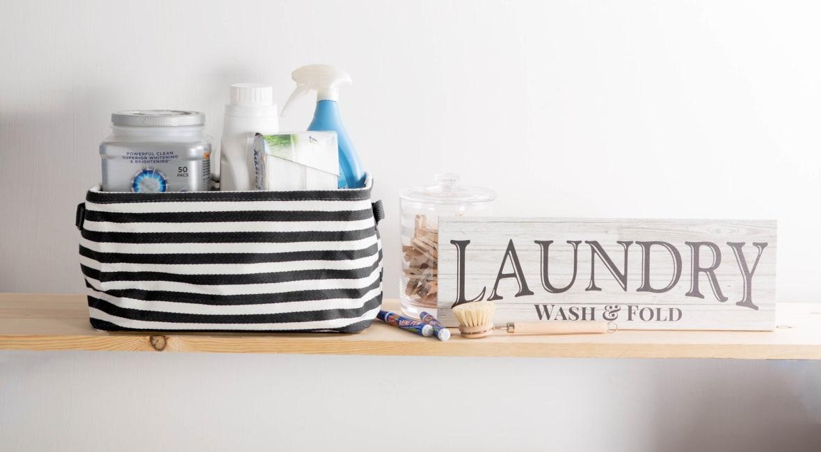 PE-Coated Herringbone Woven Cotton Laundry Storage Bin Stripe Black Rectangle Assorted (Set of 3)