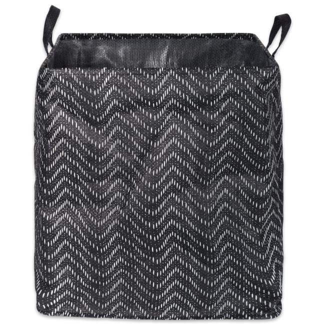 PE-Coated Woven Paper Laundry Hamper Tribal Chevron Black/White Rectangular 16x16x19