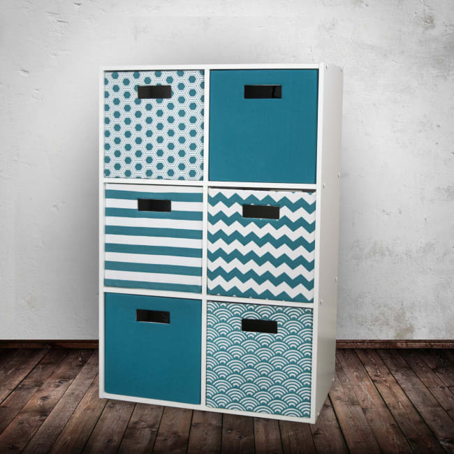 Polyester Cube Stripe Teal Square 13x13x13