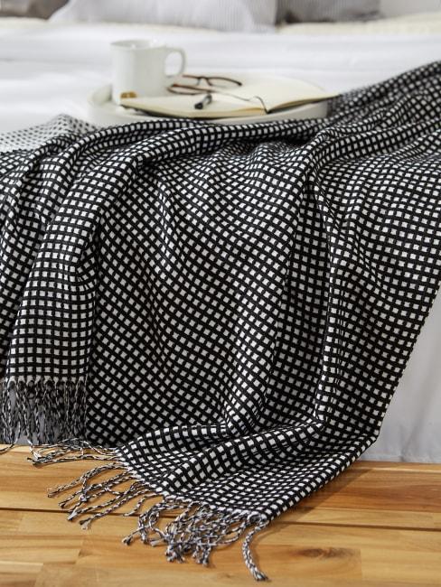 Black & White Waffle Knit Throw