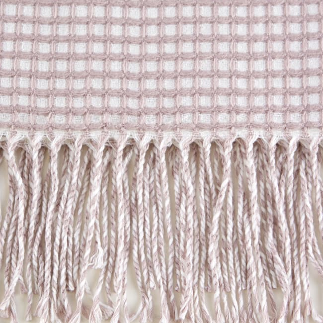 Dusty Lilac & White Waffle Knit Throw