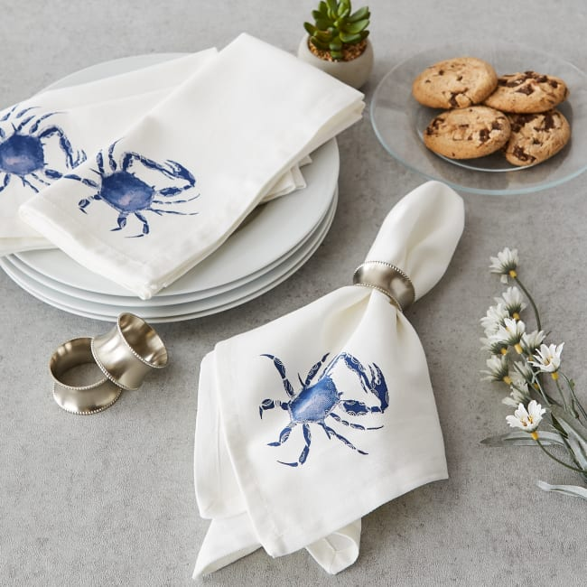 Blue Crab Set of 6 Printed Napkins