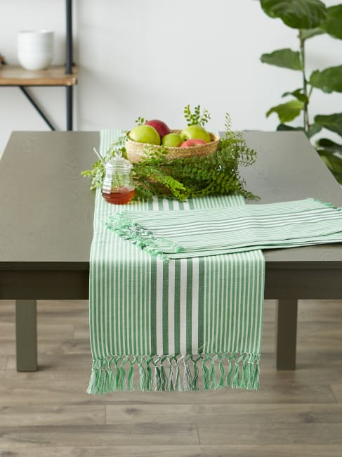 Grass Green Stripes With Fringe Set of 6 Placemat