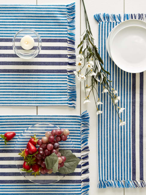 Deep Blue Stripes With Fringe Set of 6 Placemat